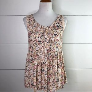 LC Lauren Conrad Floral Lace Sleeve Babydoll Top